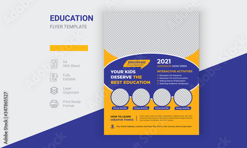 Photo Kids Back To  School Education Flyer Design