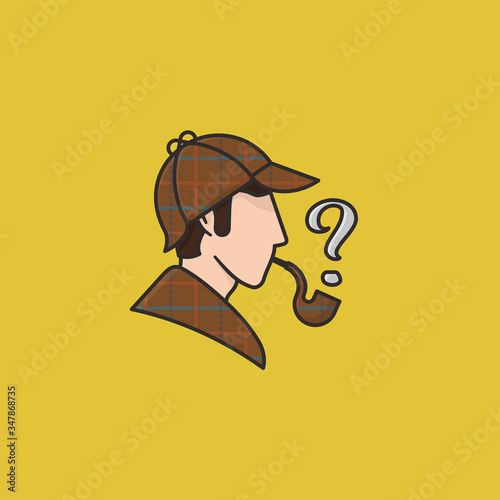 Sherlock Holmes head with cap cape and pipe vector illustration Wallpaper Mural