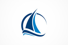 Sailboat In The Ocean Vector Logo