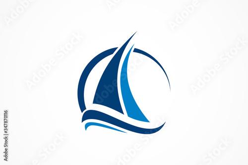 Fotografie, Tablou sailboat in the ocean vector logo