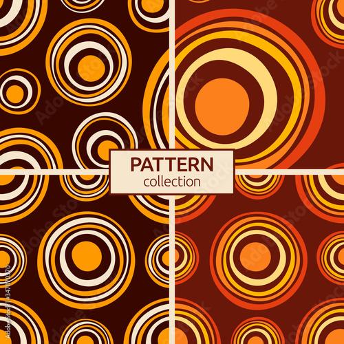 Photo Set of four abstract asymmetrical circles seamless pattern
