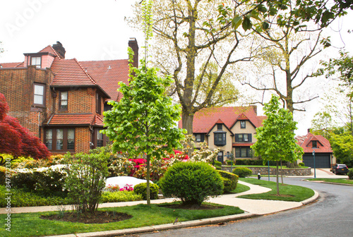 Valokuva Forest Hills Homes Queens New York Suburbs Neighborhood Tudor Style Houses
