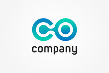 Abstract Initial Letter C An O Linked Logo. Blue Gradient Circular Rounded Infinity Style With Connected Dots. Usable For Business And Technology Logos. Flat Vector Logo Design Template Element.