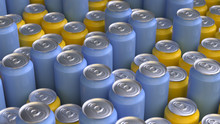 The Group Of Colorful Cans Wit...
