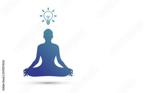 meditazione, concentrazione, idea, lampadina, idee, Canvas Print