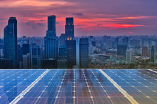 Solar Panel Over Cityscapes, S...