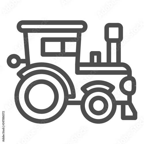 Tractor line icon, farm machinery symbol, agrimotor vector sign on white background, farmer machine icon in outline style for mobile concept and web design Canvas Print