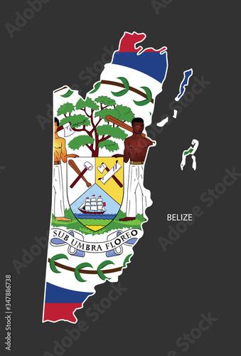 Sticker outline map of the Belize, flag Belize. Wallpaper Mural