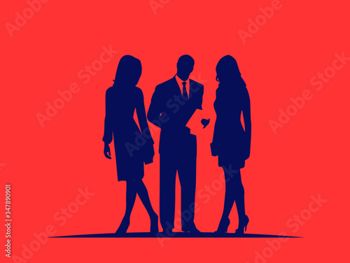 Vector illustration featuring a business interaction between two women and one man wearing professional attire while reviewing paperwork Wallpaper Mural