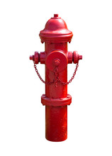 Red Fire Hydrant Isolated On White Background. Clipping Path Include In This Image.