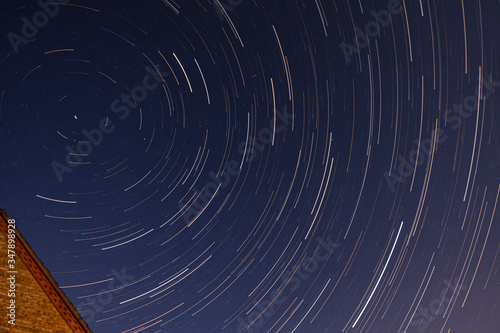 Evening star trails over Essex, UK during COVID 19 pandemic lockdown when airpla Canvas Print