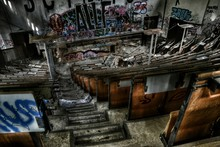 High Angle View Of Abandoned C...