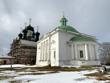 Holy Trinity Church And Cathedral Christ Resurrection At The Goritsy Monastery Of Resurrection Vologda Region In Winter, Russia