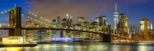 New York City Skyline Night Manhattan Town Panoramic View Brooklyn Bridge World Trade Center
