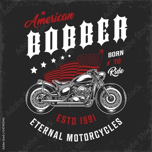 Fotografie, Obraz American bobber motorcycle vintage label