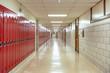 canvas print picture - Empty high school hallway