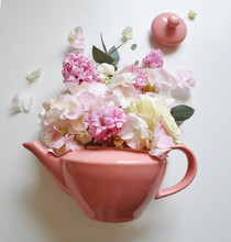 Pink Teapot With A Flowers Bou...