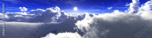 Obraz Beautiful clouds, panorama of clouds, flying in clouds, the sun above the clouds, 3D rendering - fototapety do salonu