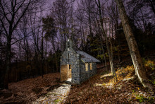 Tiny Church In Woods During Fa...