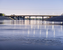 The Los Angeles River In Downtown LA Arts District