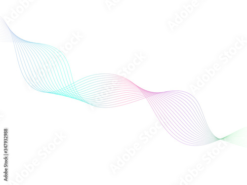 Fototapeta Abstract white background with colorful wave line, energy flow vector illustration. obraz na płótnie