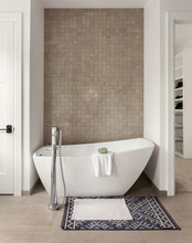 Beautiful Freestanding Bathtub With Tile Wall In New Luxury Home