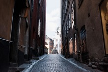 Empty Cobbled Streets Of Gamla Stan, Stockholm, Sweden