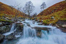 Long Exposure Of Small Stream At Scafell Pike In The Lake District