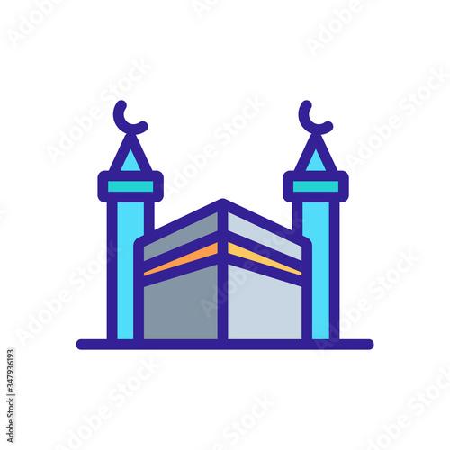 Photo haji protective fence with towers angular view icon vector