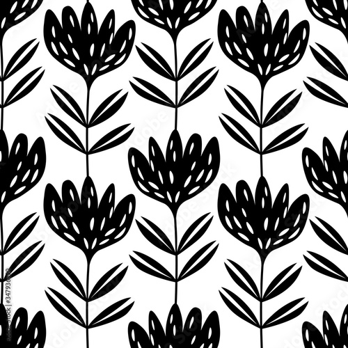 Photo Seamless floral pattern based on traditional folk art ornaments