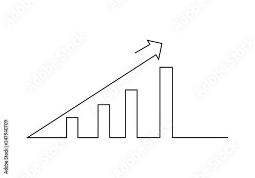 Obraz One continuous line drawing of graph icon isolated on white background. Growing graph, chart image with arrow up. Vector illustration for banner, web, design element, template, postcard. - fototapety do salonu
