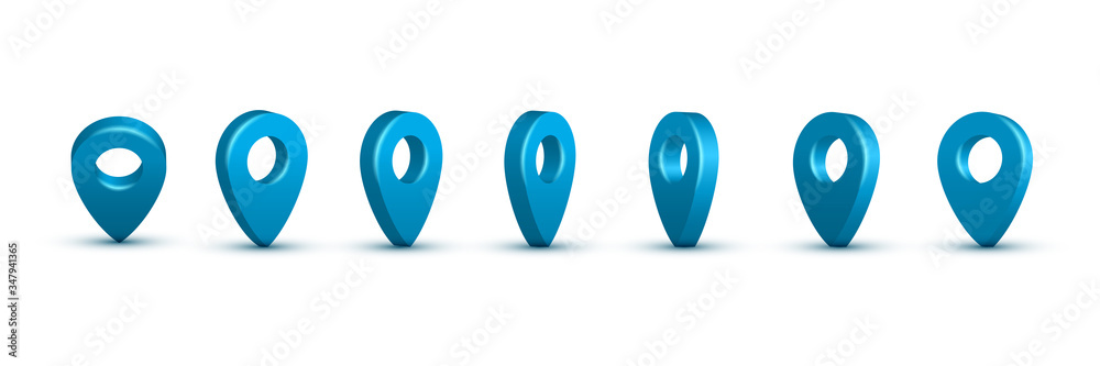 Fototapeta Shiny blue realistic map pins set. Vector 3d pointers isolated on white background. Location symbols in various angles