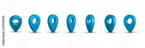 Photo Shiny blue realistic map pins set