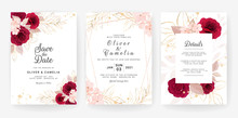 Abstract Background. Wedding Invitation Card Template Set With Watercolor And Floral Decoration. Flowers Illustration For Save The Date, Greeting, Poster, And Cover Design