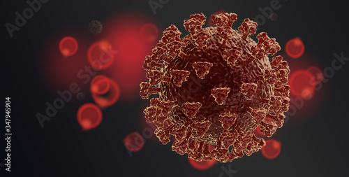 Fotomural concept of Coronavirus 3d-illustration covid-19 virus cell symbolic design