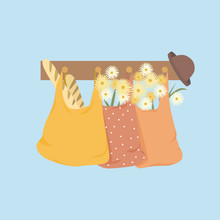 Shopping Bags With Flowers, Ba...