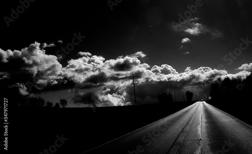 Fototapety, obrazy: View Of Road Against Cloudy Sky During Night