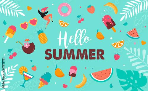 Fototapeta Hello summer abstract background, summer sale banner, poster design. Vector illustration obraz