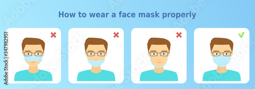 Photographie Vector illustration 'How to wear a face mask properly'