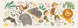 Fototapeta Fototapety na ścianę do pokoju dziecięcego - Animals in the jungle and explore. Vector cute illustrations of children's adventure, explorations, panda, koala, lion, elephant, giraffe, monkey and kids travelers.