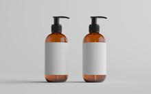 Amber Glass Pump Bottle Mock-U...