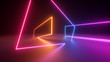 Leinwanddruck Bild 3d render, abstract neon geometric background. Stage laser show illumination. Colorful rectangular shapes, square frames, virtual reality. Glowing neon lines. Minimal futuristic design