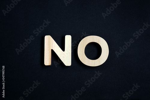 Single word no on dark background, text no Wallpaper Mural