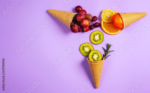 Ice cream with natural fruits Wallpaper Mural