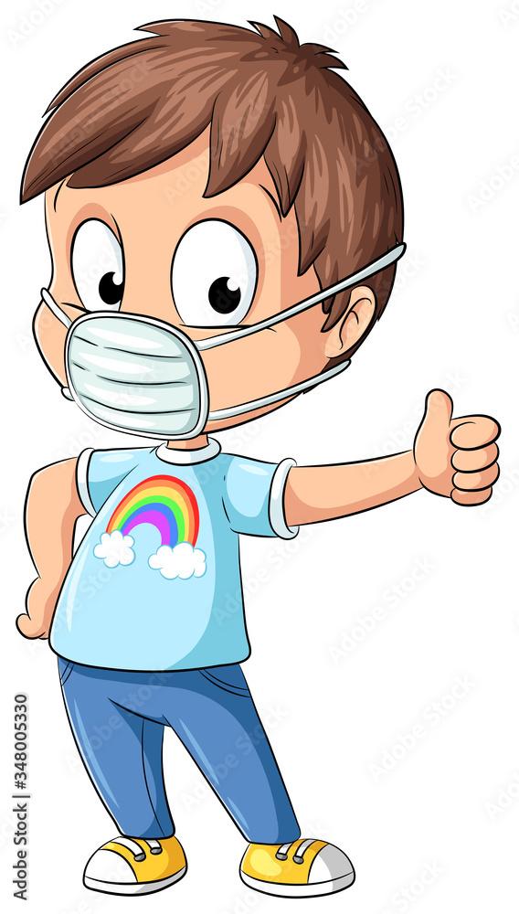 Fototapeta Junge mit Mundschutz gibt Daumen nach oben - Vektor-Illustration