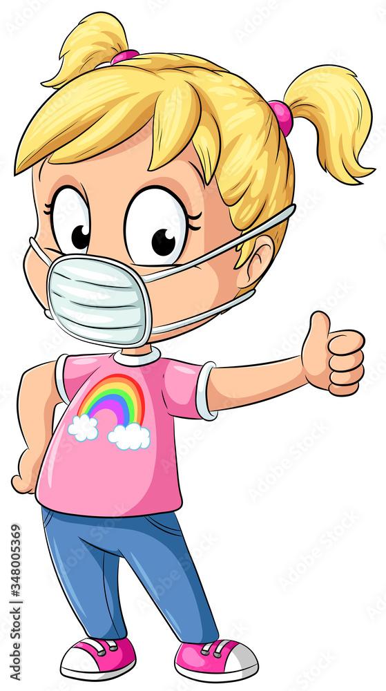 Fototapeta Mädchen mit Mundschutz gibt Daumen nach oben - Vektor-Illustration