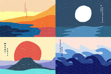 Vector Illustration. Abstract Flat Minimalist Design Landscape Set. Mount Fuji, Desert, Sea, Moon At Night. Old Paper With Scratches Effect. Hand Drawn Japanese Pattern. Vintage Nature Graphic