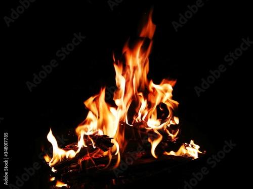 Close-up Of Bonfire Against Black Background Fototapeta