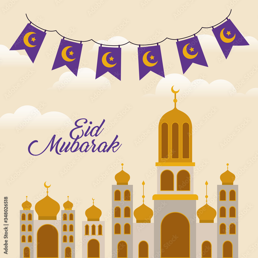 Fototapeta Eid mubarak temple with moon and banner pennant vector design