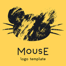 The Mouse Logo On A Yellow Background. A Logo With A Portrait Of A Mouse With A Large Mustache And Ears. Great For Your Company, You Can Use On A Banner Or Sign. Vector Eps Illustration.